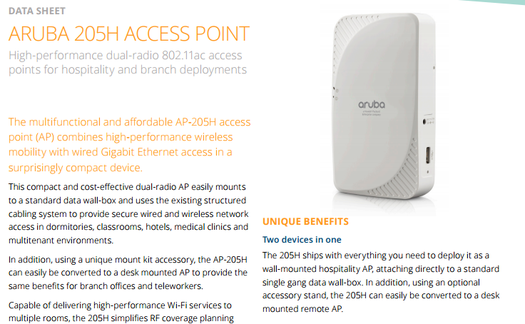 Aruba 205h Access Point Data Sheet - Laketec