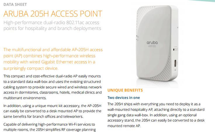 Aruba 205h Access Point Data Sheet - Laketec