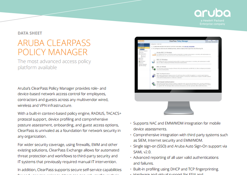 Aruba ClearPass Policy Manager Data Sheet - Laketec