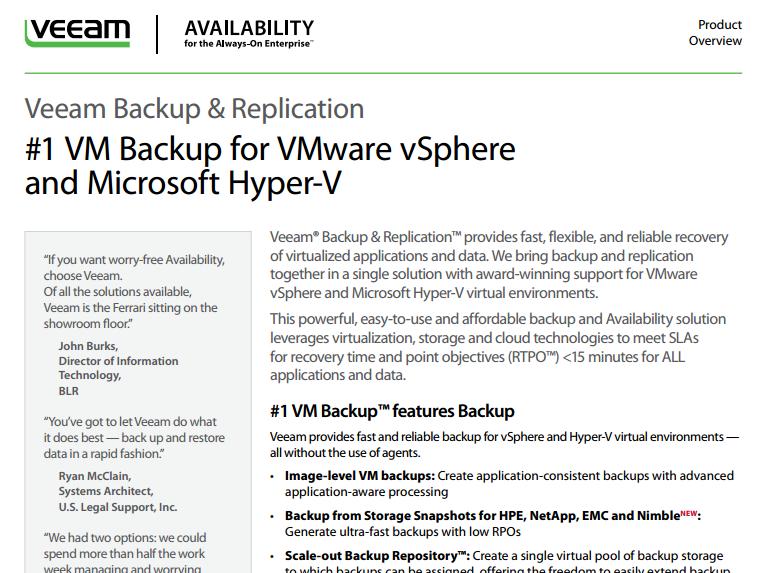 Veeam - Backup & Replication Overview - Laketec