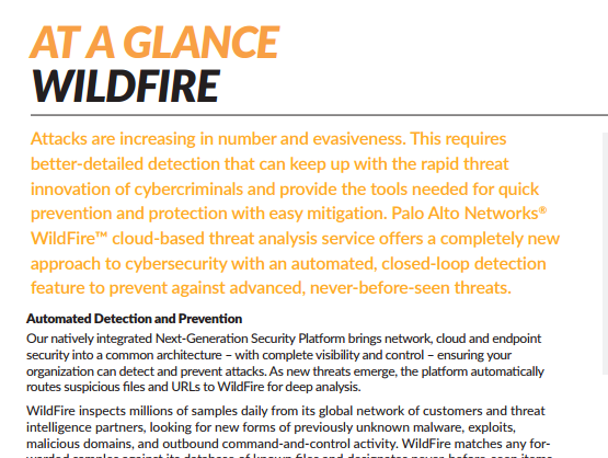 Palo Alto - Wildfire At A Glance - Laketec
