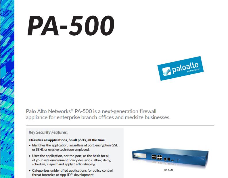 Palo Alto PA-500 Specsheet - Laketec