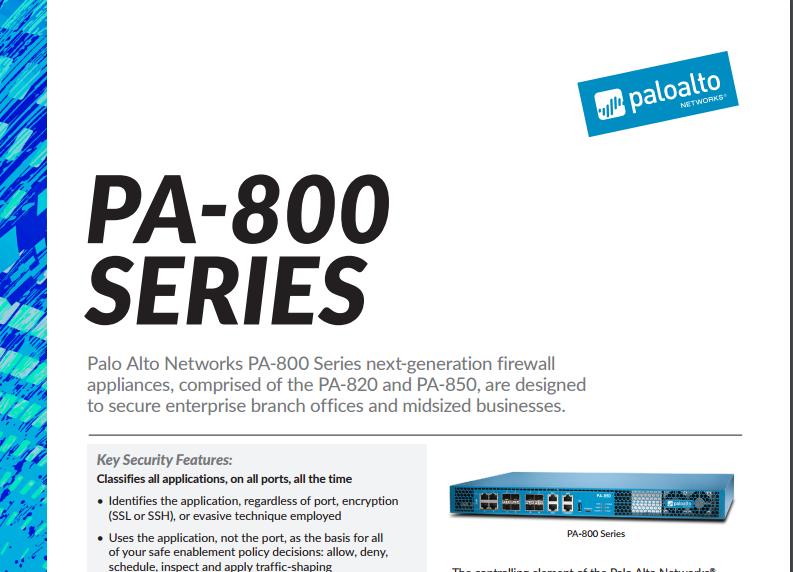 Palo Alto PA-800 Specsheet - Laketec