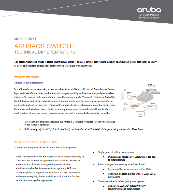 ArubaOS Switch - Technical Differentiators - Laketec