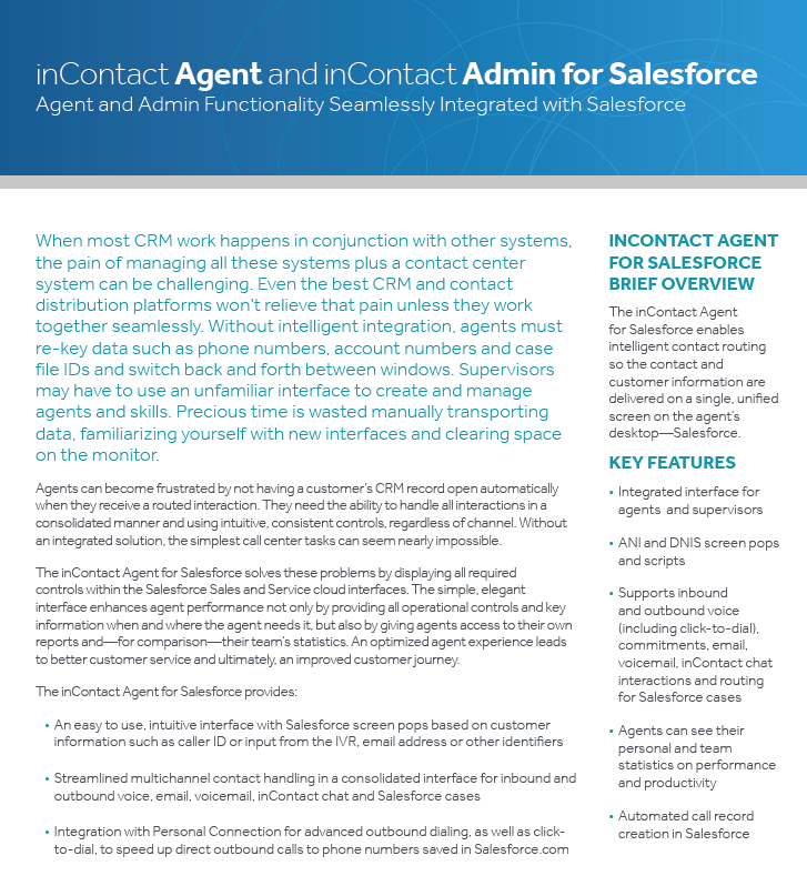 inContact Agent and inContact Admin for Salesforce - Laketec