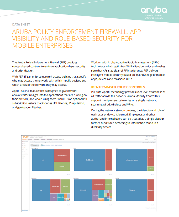 Aruba Policy Enforcement Firewall - Laketec