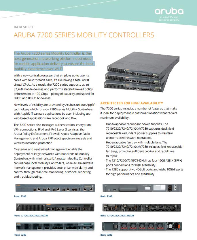 Aruba 7200 Series Mobility Controllers - Laketec