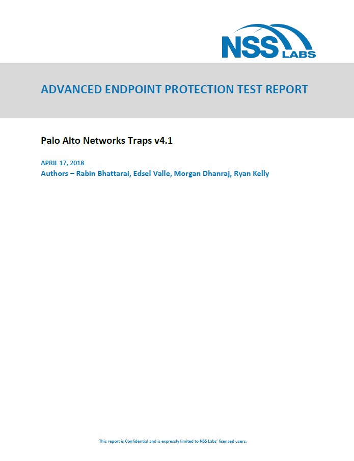 Palo Alto - 2018 NSS Labs Advanced Endpoint Protection