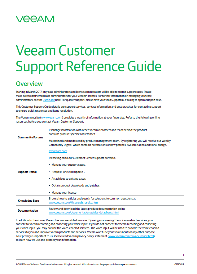 Veeam Software Support Policy - Laketec