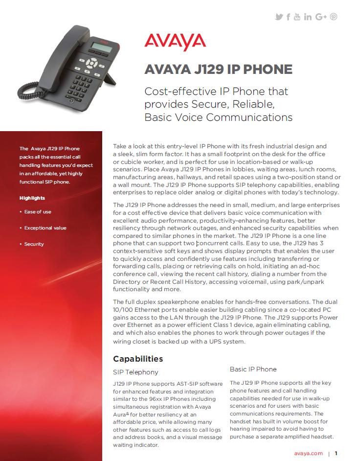 Avaya J129 IP Phone - Laketec