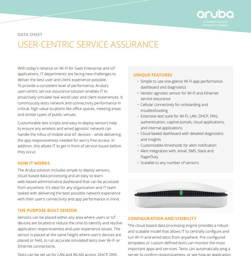Aruba - USER-CENTRIC SERVICE ASSURANCE - Laketec